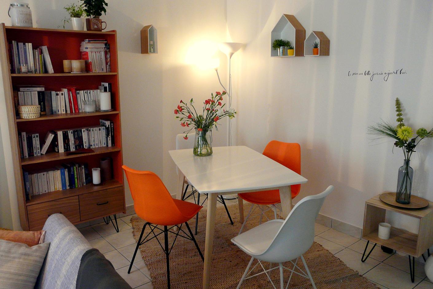 Création ambiance pièce de vie, à Lorient, style scandinave, espace repas, couleur oraange