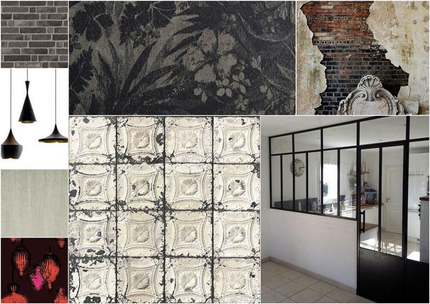 Création d'ambiance à Kervignac, pièce de vie, mezzanine, cuisine, by Agence BFB, proposition planche ambiance