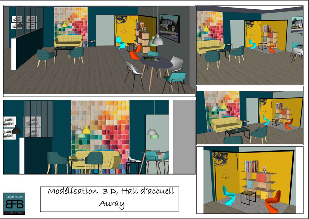 Création ambiance, hall d'accueil pour un constructeur de maisons dans le Morbihan, by Agence BFB Lorient, avant-projet avec les modélisations 3D