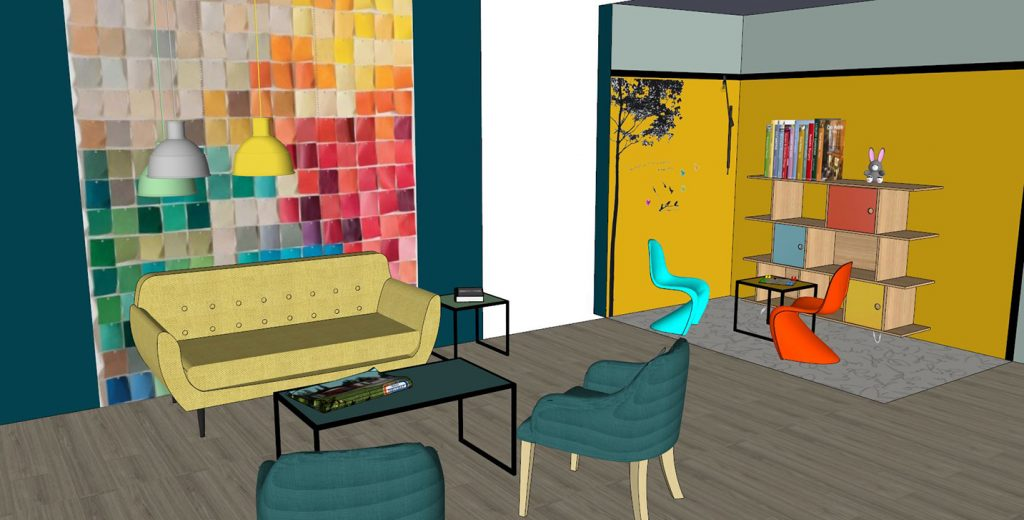Création ambiance, hall d'accueil pour un constructeur de maisons dans le Morbihan, by Agence BFB Lorient, avant-projet, espace accueil et espace enfant, modélisation 3D