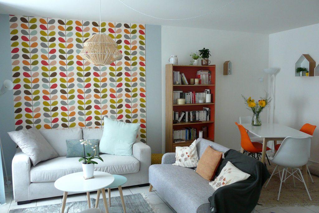 Création ambiance pièce de vie, à Lorient, style scandinave, espace salon et repas