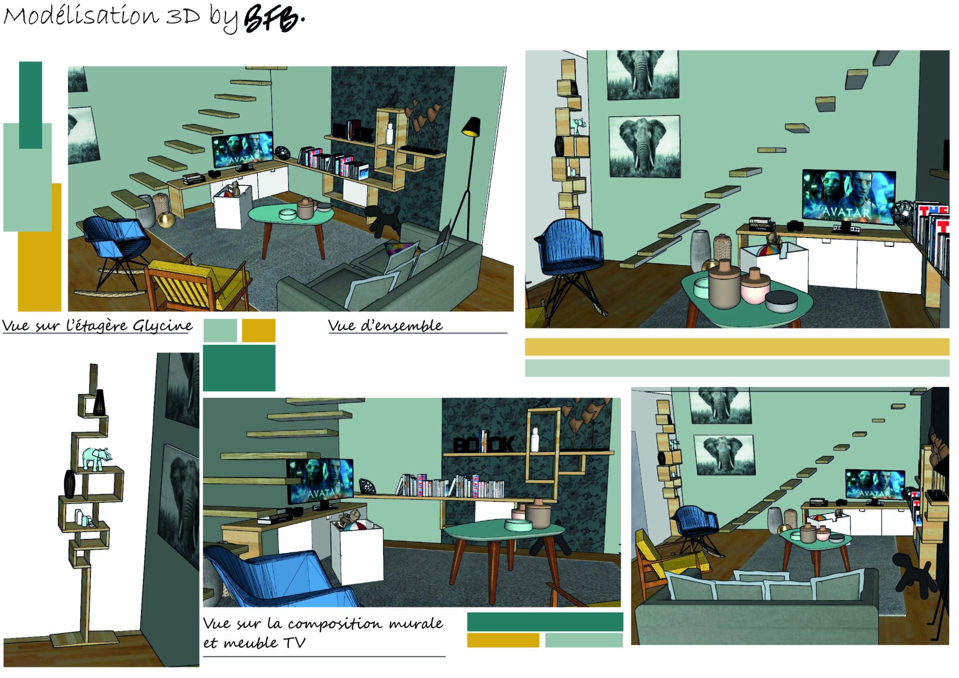 Création ambiance cocooning à Larmor Plage, by Agence BFB, Morbihan, modélisation 3D