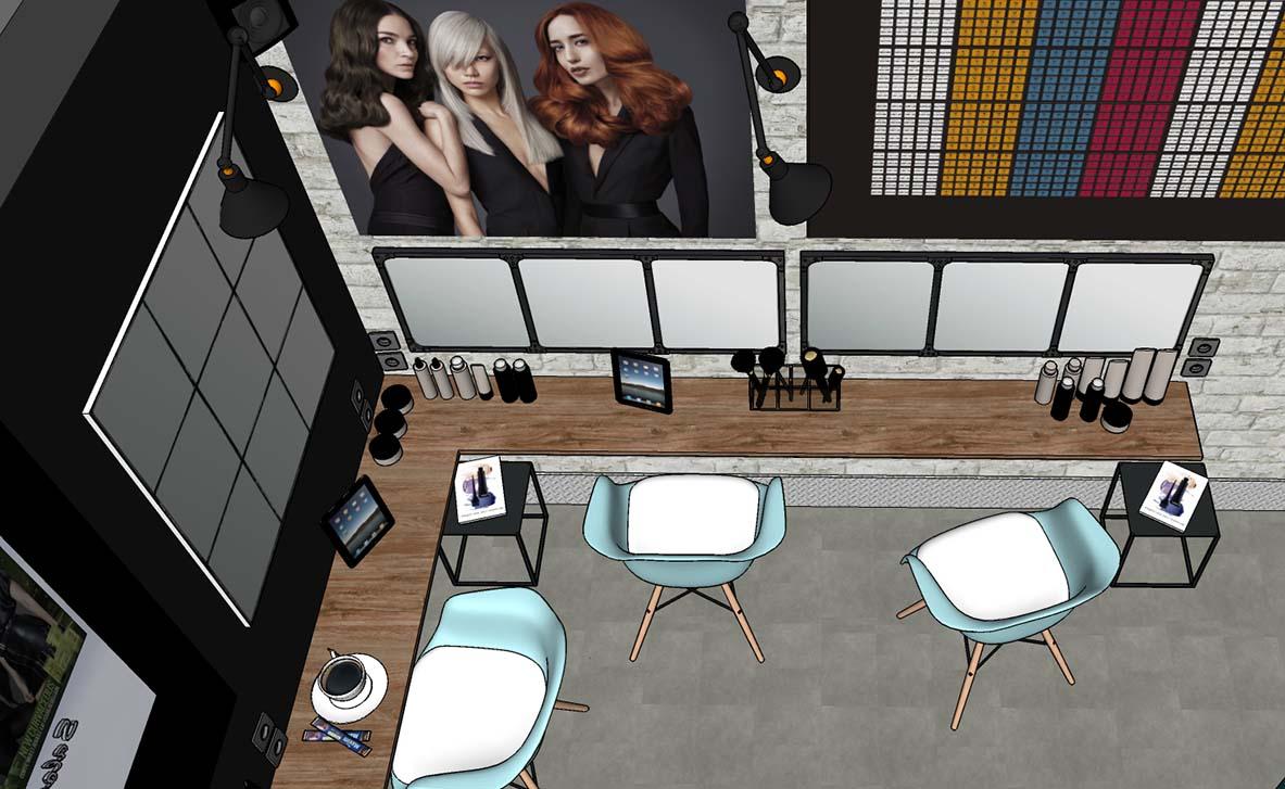 Salon de coiffure, espace technique couleur - mise en avant des produits de vente - ambiance atelier, style industriel.