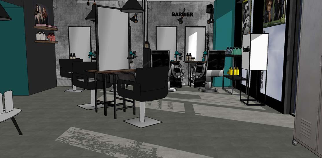 Salon de coiffure, avec espace coupe et espace barbier. Création du mobilier - Ambiance atelier, style industriel.
