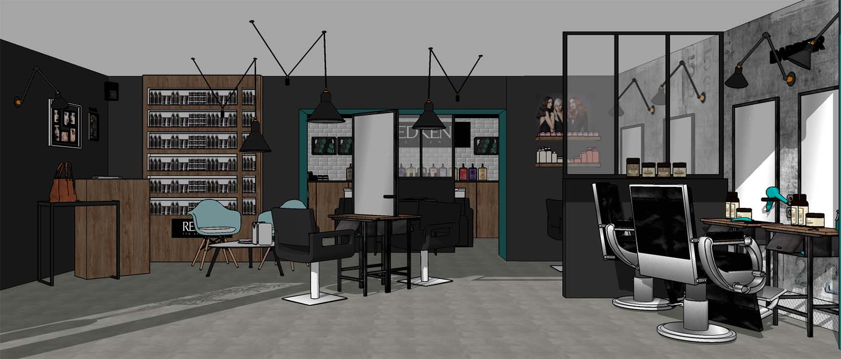 Salon de coiffure, Espace coupe avec verrière et espace barbier. Produits Redken, style industriel, ambiance atelier, bois, acier, chêne