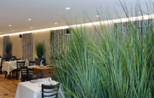 Relooking décoratif, création ambiance, Restaurant pizzeria, Rostrenen, Bretagne by Agence BFB Lorient, graminées de l'entrée, ambiance végétale