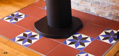 Relooking magistral salon et espace repas, Agence BFB, Bretagne et île de Ré,- zoom-matières - carreaux de ciment couleurs du projet