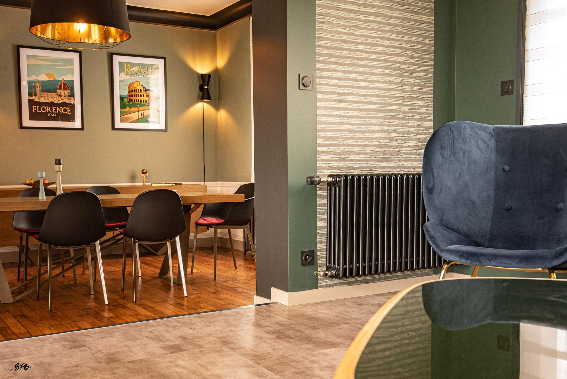 Création ambiance, rénovation, extension, maison à Brest, by Agence BFB Morbihan & Ile de Ré, style Art-Déco pour l'espace repas