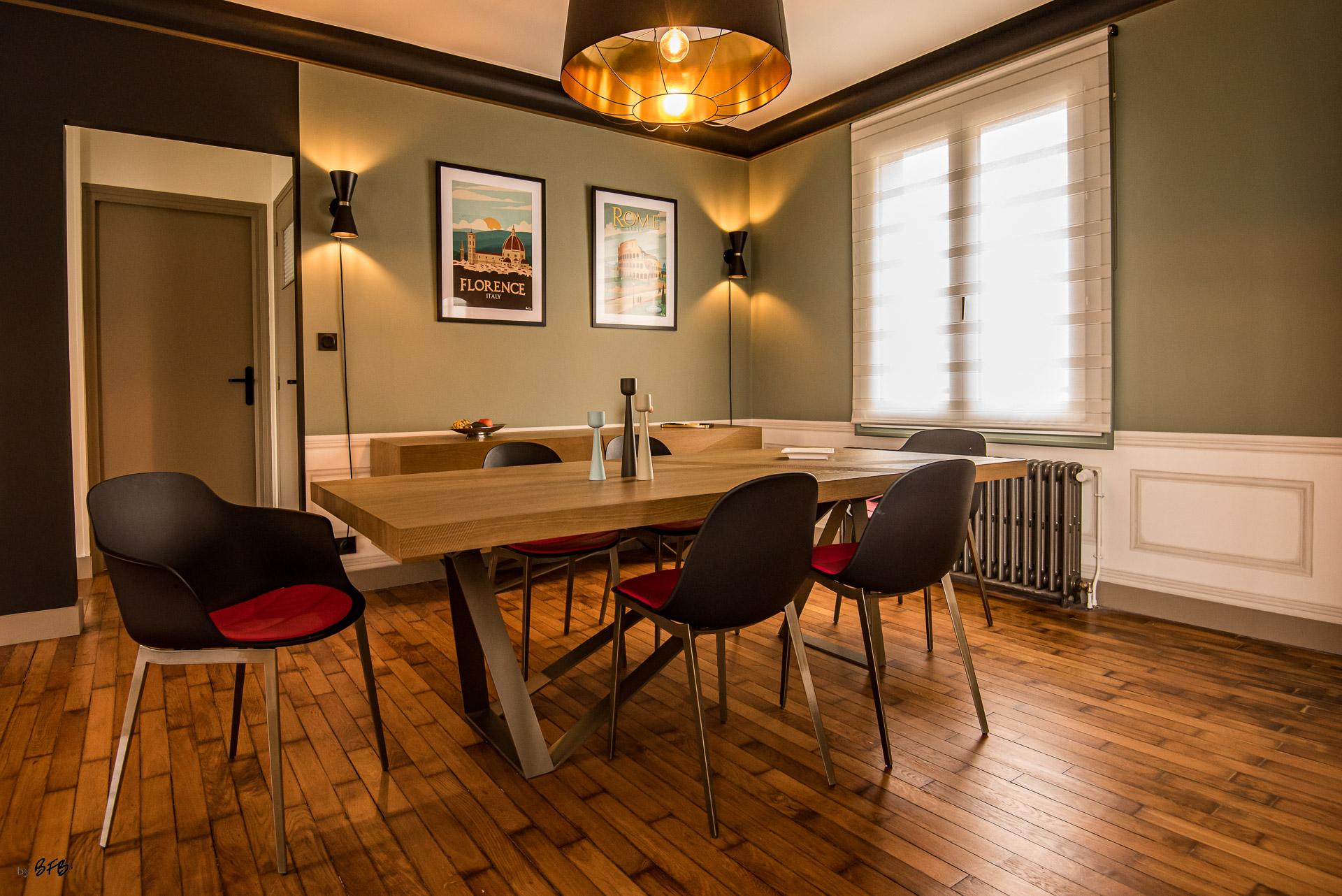 Création ambiance, rénovation, extension, maison à Brest, by Agence BFB Morbihan & Ile de Ré, ambiance Art-Déco, noir, vert et matières nobles