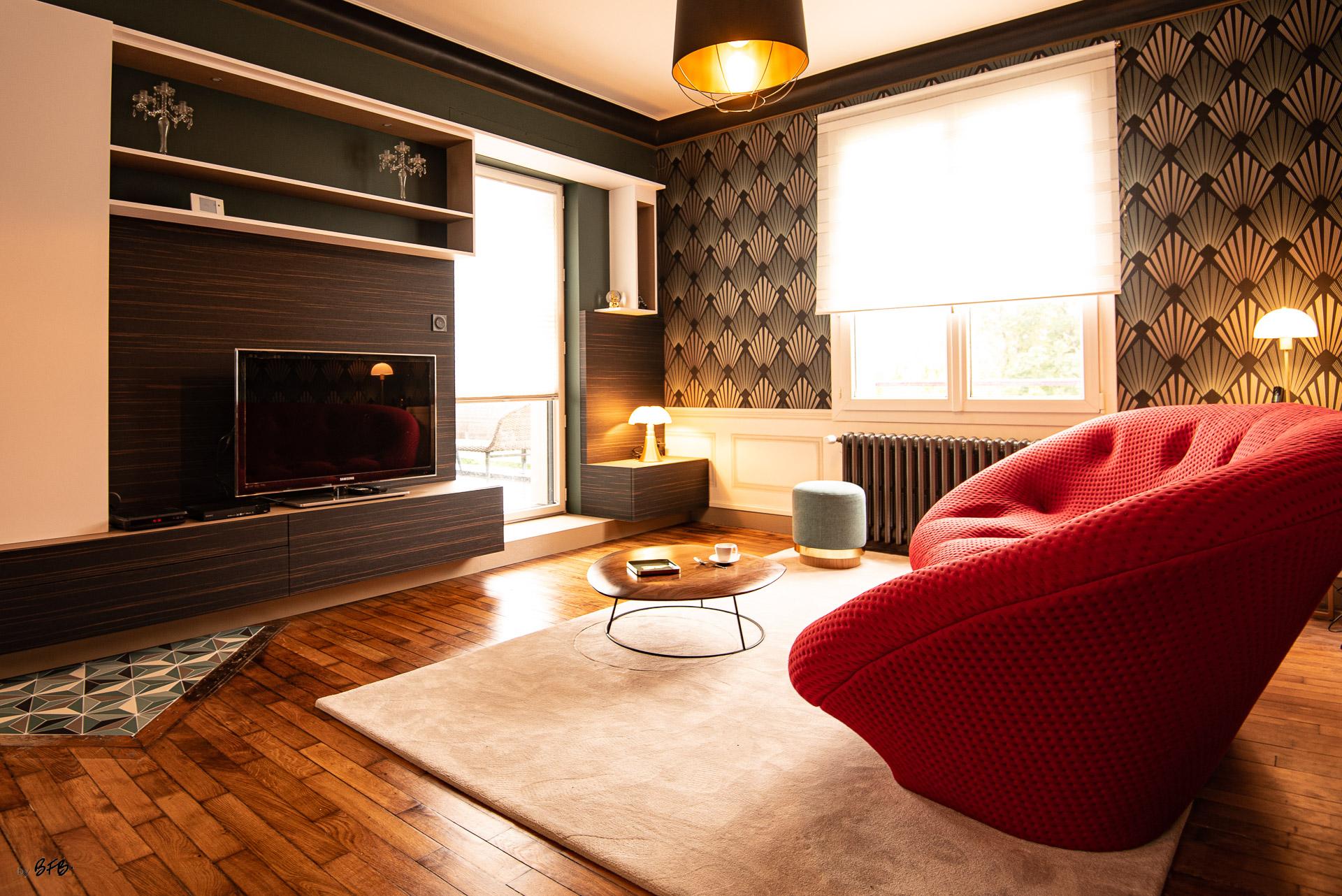 Création ambiance, rénovation, extension, maison à Brest, by Agence BFB Morbihan & Ile de Ré, style Art-Déco, meuble sur-mesure, canapé Ploom