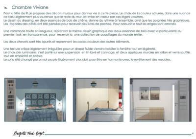 Le Book 3D, une prestation de Décoration par Brigitte Ferré-Bigot, Décoratrice d'intérieur à Lorient : Descriptif pour la chambre Viviane