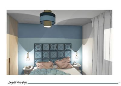 Le Book 3D, une prestation de Décoration par Brigitte Ferré-Bigot, Décoratrice d'intérieur à Lorient : Tête de lit pour la chambre Viviane