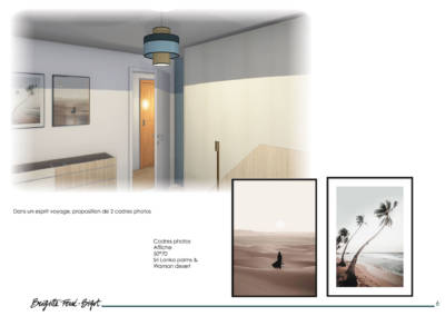 Le Book 3D, une prestation de Décoration par Brigitte Ferré-Bigot, Décoratrice d'intérieur à Lorient : Cadres photos pour la chambre Viviane