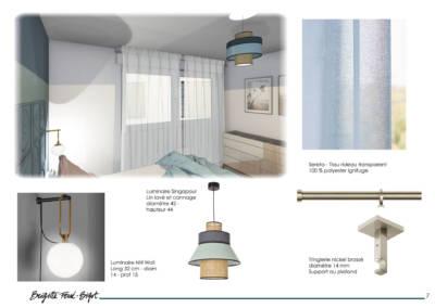 Le Book 3D, une prestation de Décoration par Brigitte Ferré-Bigot, Décoratrice d'intérieur à Lorient : les luminaires et rideaux pour la chambre Viviane