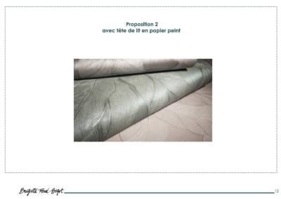 Le Book 3D, une prestation de Décoration par Brigitte Ferré-Bigot, Décoratrice d'intérieur à Lorient : Proposition tête de lit en papier peint