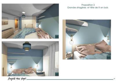 Décoration maiLe Book 3D, une prestation de Décoration par Brigitte Ferré-Bigot, Décoratrice d'intérieur à Lorient : grande étagère et tête de lit en bois