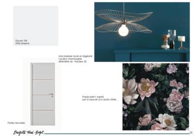 Décoration maiLe Book 3D, une prestation de Décoration par Brigitte Ferré-Bigot, Décoratrice d'intérieur à Lorient : les portes et papier peint du couloir